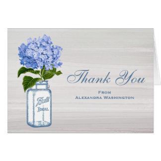 Mason Jar Blue Hydrangea Gray Thank You Card