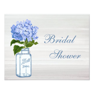 Mason Jar & Blue Hydrangea Grey Bridal Shower Card