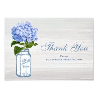 Mason Jar & Blue Hydrangea Grey Thank You Cards