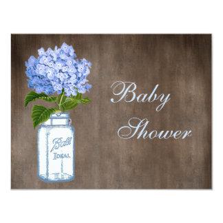 Mason Jar & Blue Hydrangea Rustic Baby Shower Card