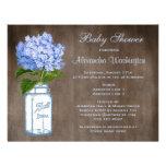 Mason Jar & Blue Hydrangea Rustic Baby Shower Personalized Invitations