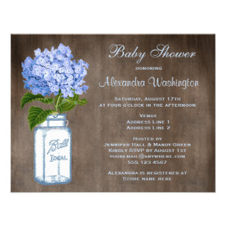 Mason Jar Blue Hydrangea Rustic Baby Shower Personalized Invitations