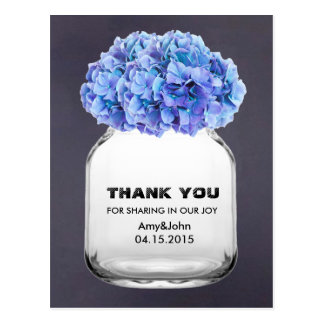 Mason jar blue hydrangea thank you note hydrangea7 postcard