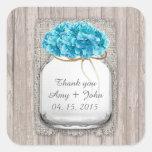 Mason jar blue hydrangea wedding favors hyd2 square sticker