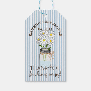 Mason Jar Blue Stripes Baby Shower Thank You Gift Tags