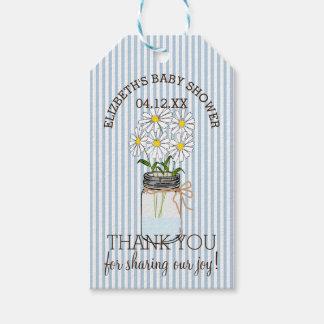 Mason Jar Blue Stripes Baby Shower Thank You Gift Tags