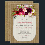 "Mason jar burgundy floral baby shower invitations<br><div class=""desc"">Rustic Burlap Mason Jar Boho Burgundy baby shower invitation by Lemon Tree Weddings.  Please see full collection above.  Contact the designer to request coordinating items not shown at info@lemontreecards.com</div>"