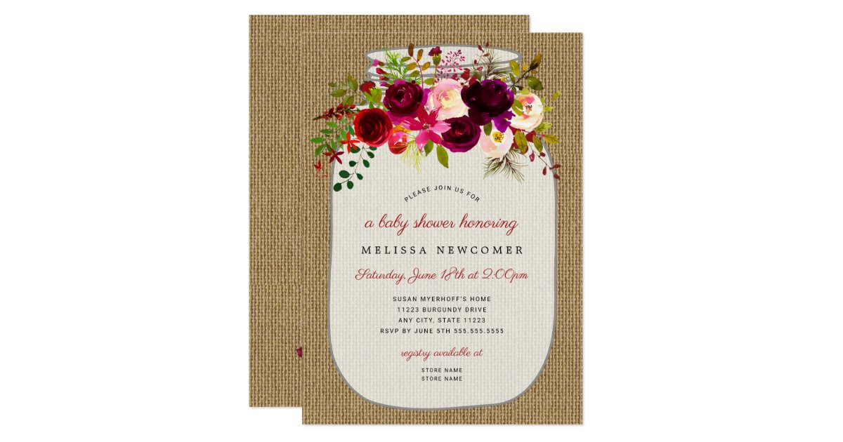 Mason jar burgundy floral baby shower invitations | Zazzle.com