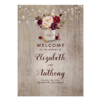 Mason Jar Burgundy Floral Wedding Welcome Sign