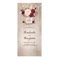 Mason Jar Burgundy Flowers Rustic Wedding Programs