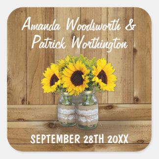 Mason Jar Burlap and Lace Sunflower Wedding Favors Square Sticker
