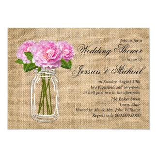 "Mason Jar Burlap Peony Wedding Shower 5"" X 7"" Invitation Card"
