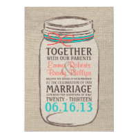 Mason Jar Burlap Rustic Wedding Invitation