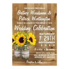 Mason Jar Burlap Sunflower Wedding Invitations
