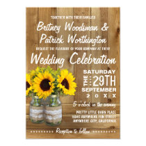 Mason Jar Burlap Sunflower Wedding Invitations