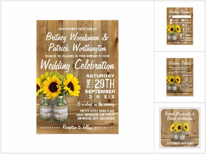 Mason Jar Burlap Sunflower Wedding Invitations Set