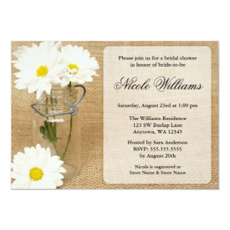 Mason Jar Burlap White Daisies Bridal Shower Card