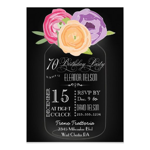 Mason Jar Chalkboard 70th Birthday Invitation