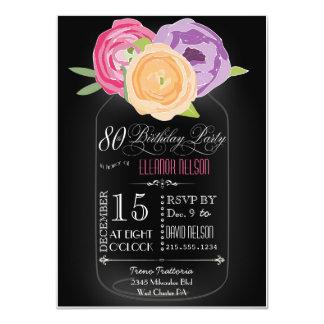 "Mason Jar Chalkboard 80th Birthday Invitation 4.5"" X 6.25"" Invitation Card"
