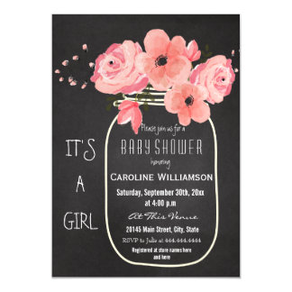 Mason Jar Chalkboard Baby Shower Magnetic Card