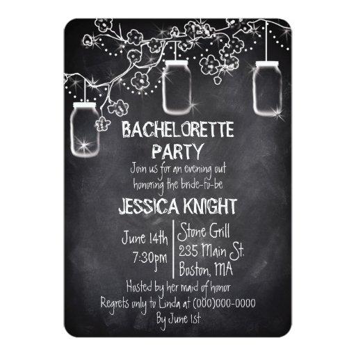 Mason Jar Chalkboard Bachelorette Party 5x7 Paper Invitation Card