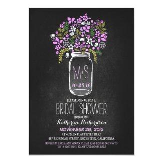 "mason jar chalkboard bridal shower invitation 5"" x 7"" invitation card"