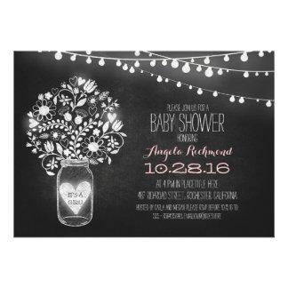 mason jar chalkboard & lights Baby Shower invite