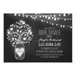 mason jar chalkboard & lights bridal shower 5x7 paper invitation card