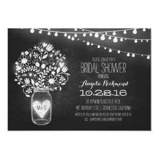 mason jar chalkboard & lights bridal shower card