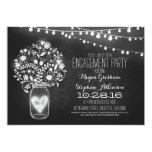 mason jar chalkboard & lights engagement party card