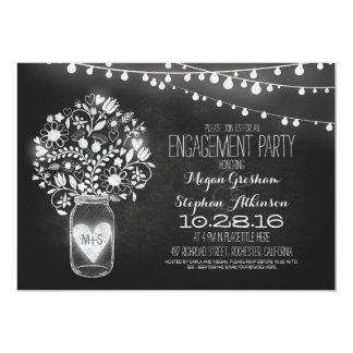 mason jar chalkboard & lights engagement party card
