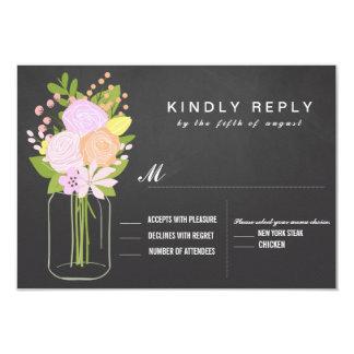 Mason Jar Chalkboard RSVP  Wedding Card