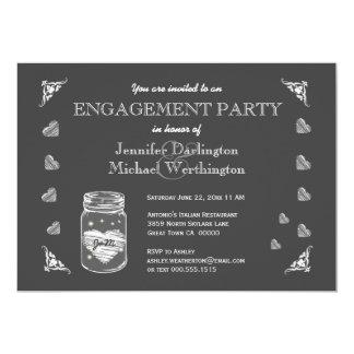 Mason Jar Chalkboard Rustic Enagement Party A02C Card