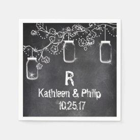 Mason Jar Chalkboard String Lights Rustic Wedding Napkin