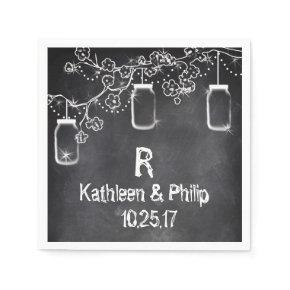 Mason Jar Chalkboard String Lights Rustic Wedding Standard Cocktail Napkin