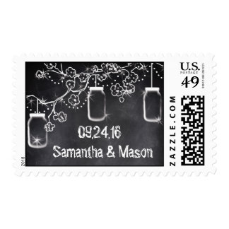 Mason Jar Chalkboard String Lights Rustic Wedding Postage