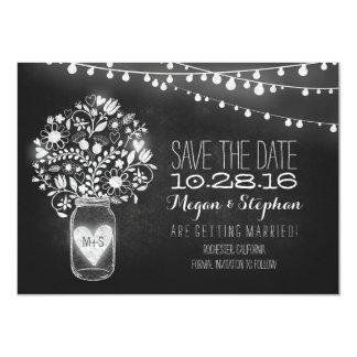 mason jar chalkboard string lights save the date 4.5x6.25 paper invitation card