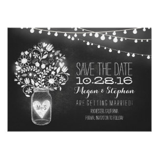 mason jar chalkboard string lights save the date personalized announcement