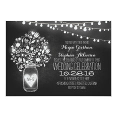 mason jar chalkboard string lights wedding invites at Zazzle