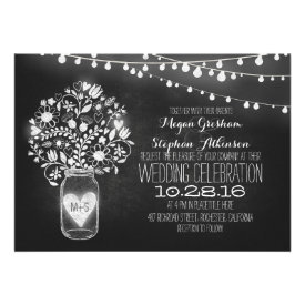 mason jar chalkboard string lights wedding invites cards