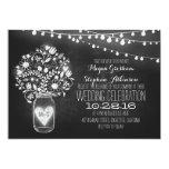 "mason jar chalkboard string lights wedding invites 5"" x 7"" invitation card"