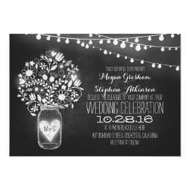 mason jar chalkboard string lights wedding invites 5