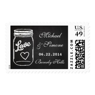 Mason Jar Chalkboard Wedding Save The Date Postage Stamps