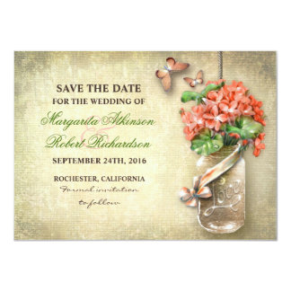 mason jar & coral flowers save the date cards custom invites