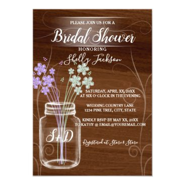 Bride Themed Mason jar country bridal shower card