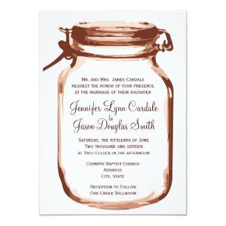 Mason Jar Country Rustic Wedding Invitations 4.5