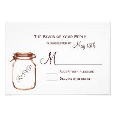 Mason Jar Country Rustic Wedding RSVP Cards