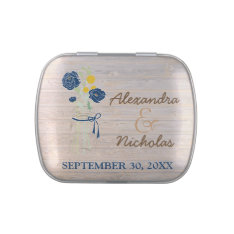 Mason Jar Country Wedding Favor Tins (navy blue) Jelly Belly Candy Tin at Zazzle