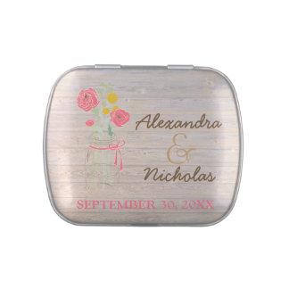 Mason Jar Country Wedding Favor Tins (rose pink) Candy Tin