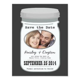 Mason Jar Couple Photo Save the Date Card